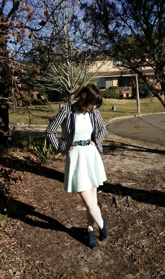 Blazer : David Lawrence, dress:Myer, belt:Alannah Hill, tights: eBay, shoes: kmart