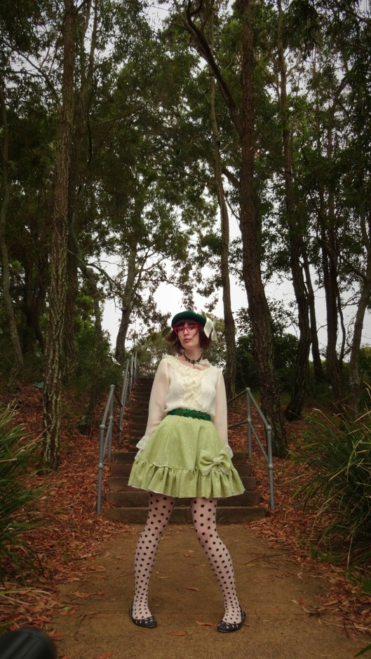 Home made skirt green big bow